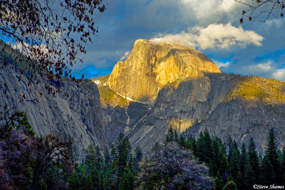 half dome, yosemite national park, clouds, photo
