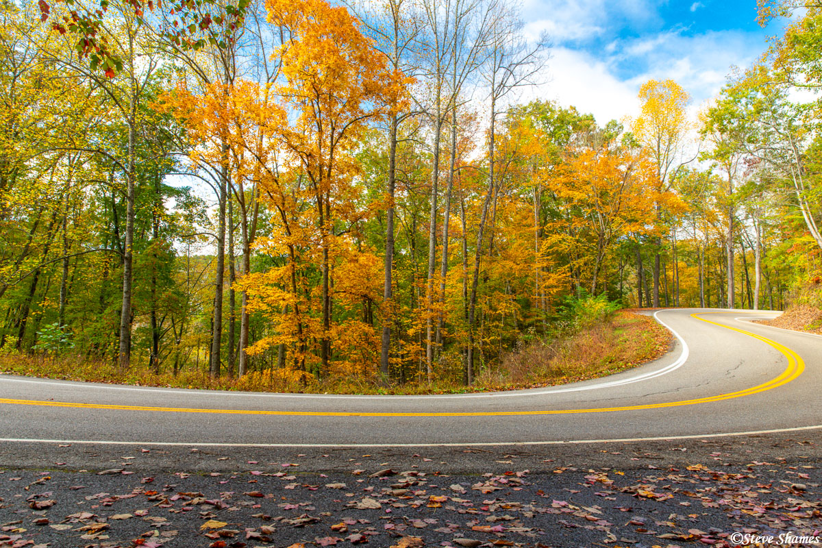 """Beautiful fall colors on Highway 129 in Tennessee - also known as the """"Tail of the Dragon"""""""