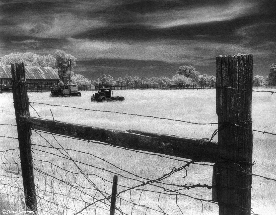 rural sacramento county, california, infrared film, junked trucks, photo