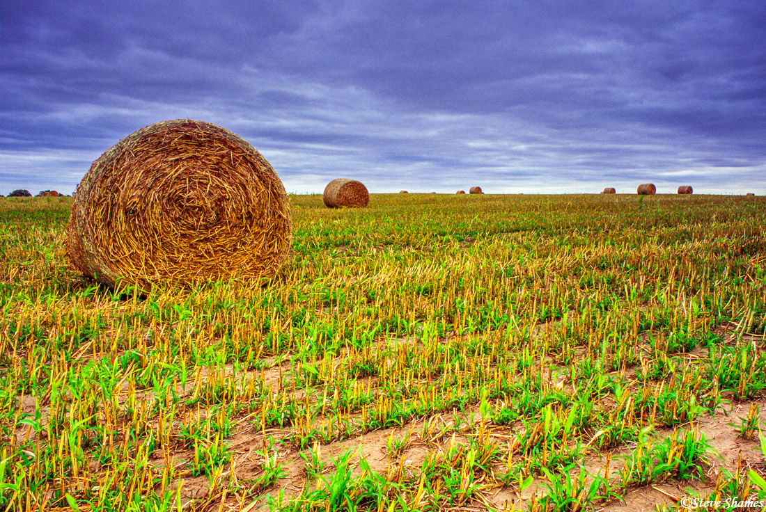 kansas countryside, bales of hay, dark sky, photo