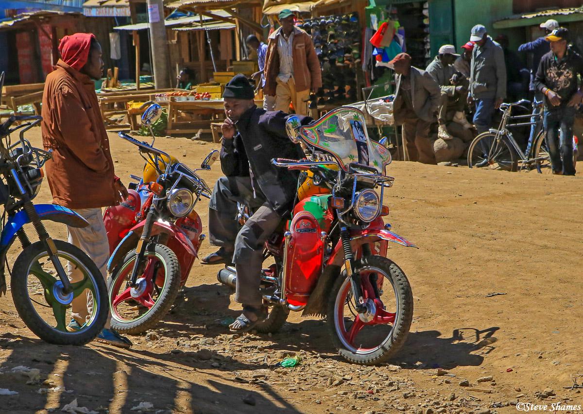 kenya town, chinese motorcycles, photo
