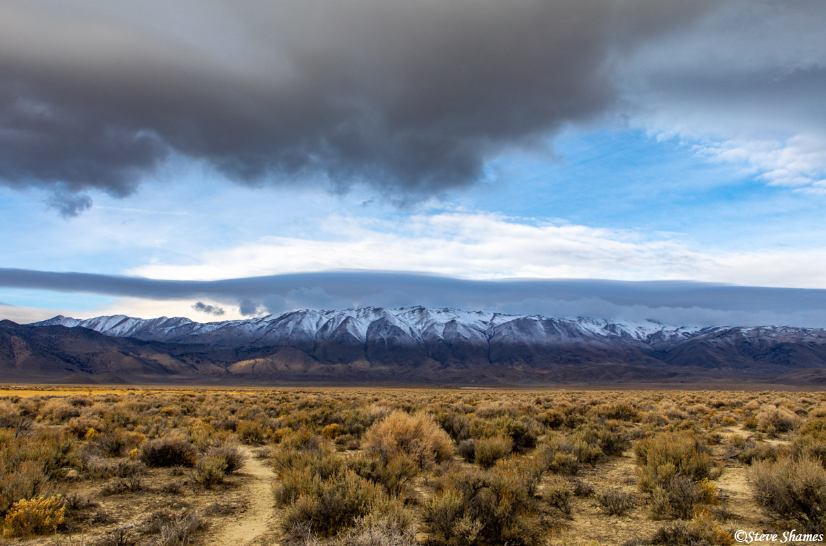 granite range, gerlach nevada, layers of clouds, photo