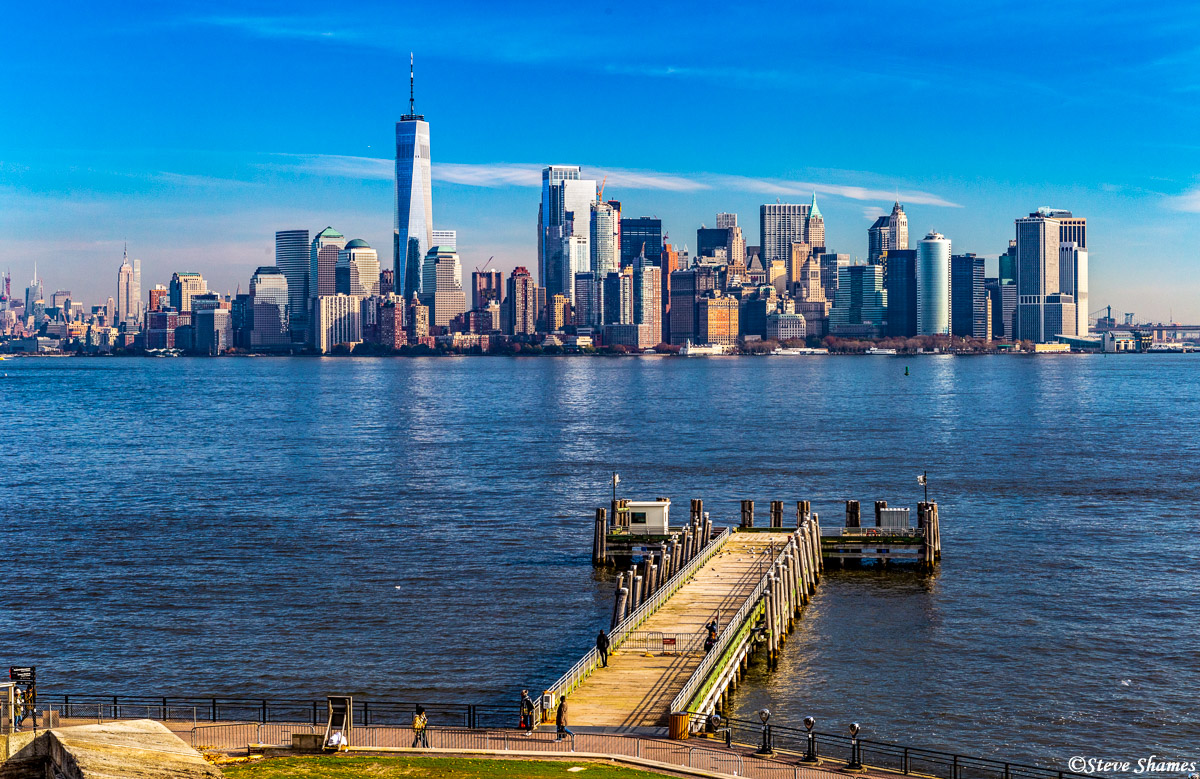 The view of lower Manhattan from Liberty Island.