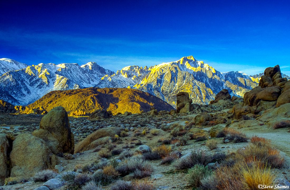 alabama hills, eastern california, lone pine peak, sierras, sunrise, photo