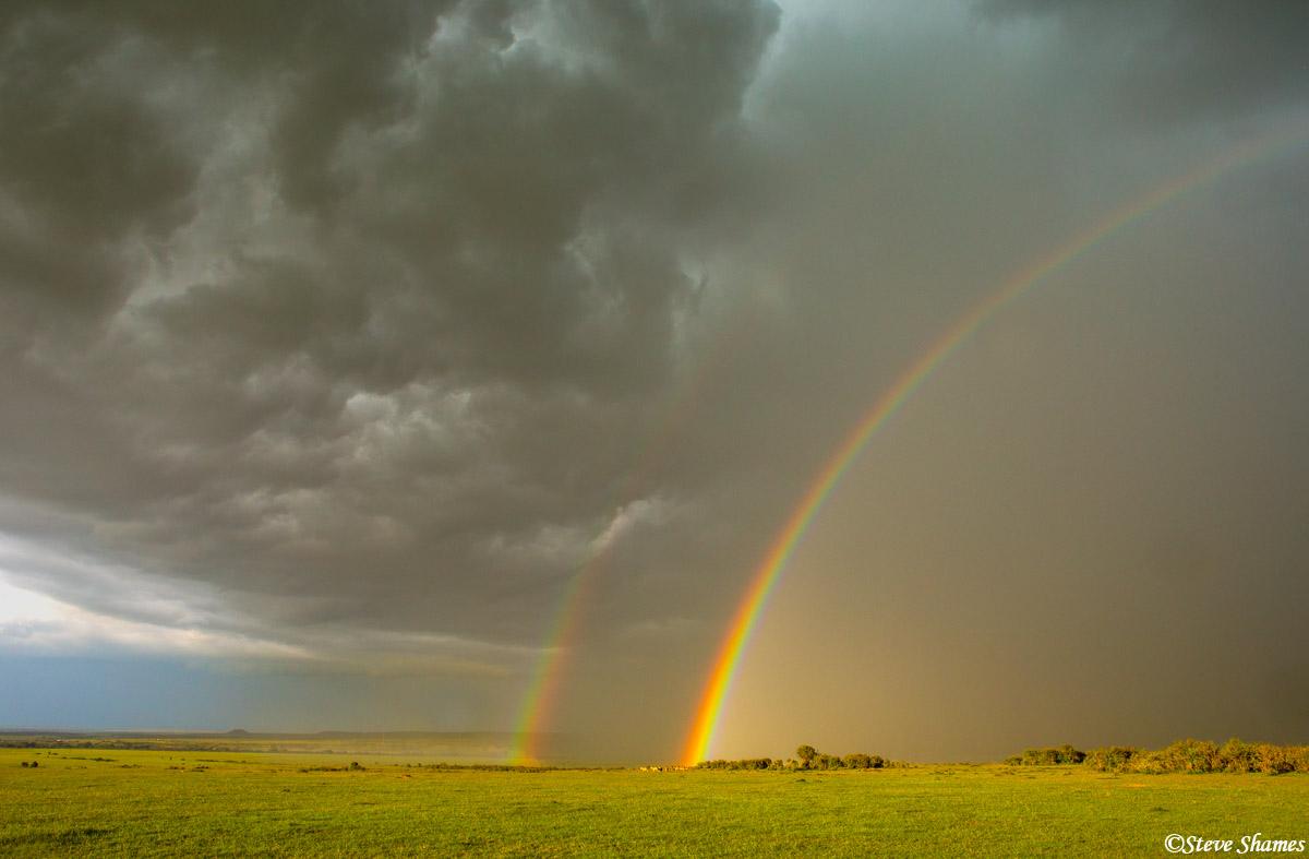 masai mara, maasai, kenya, double rainbow, photo