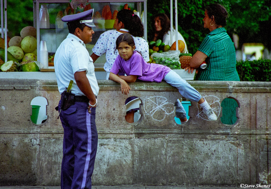 morelia policeman, mexico, town square, photo