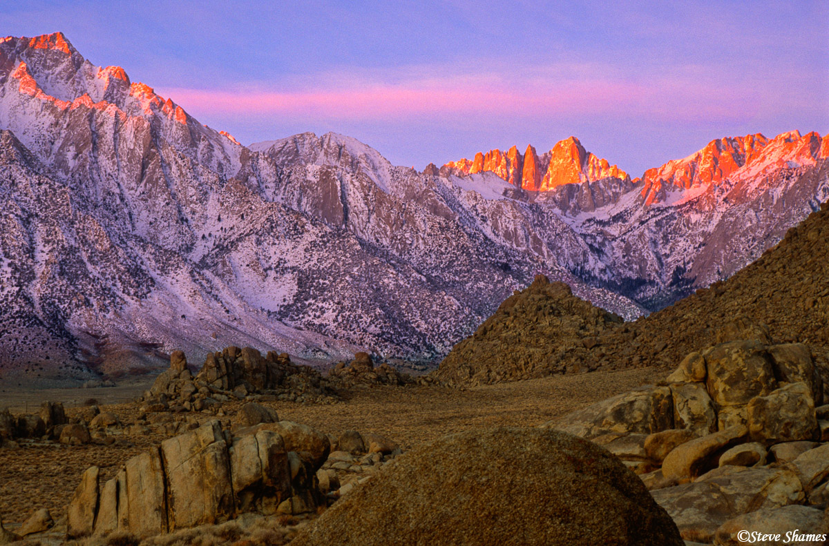 alabama hills sunrise, eastern california, mount whitney, lone pine peak, photo