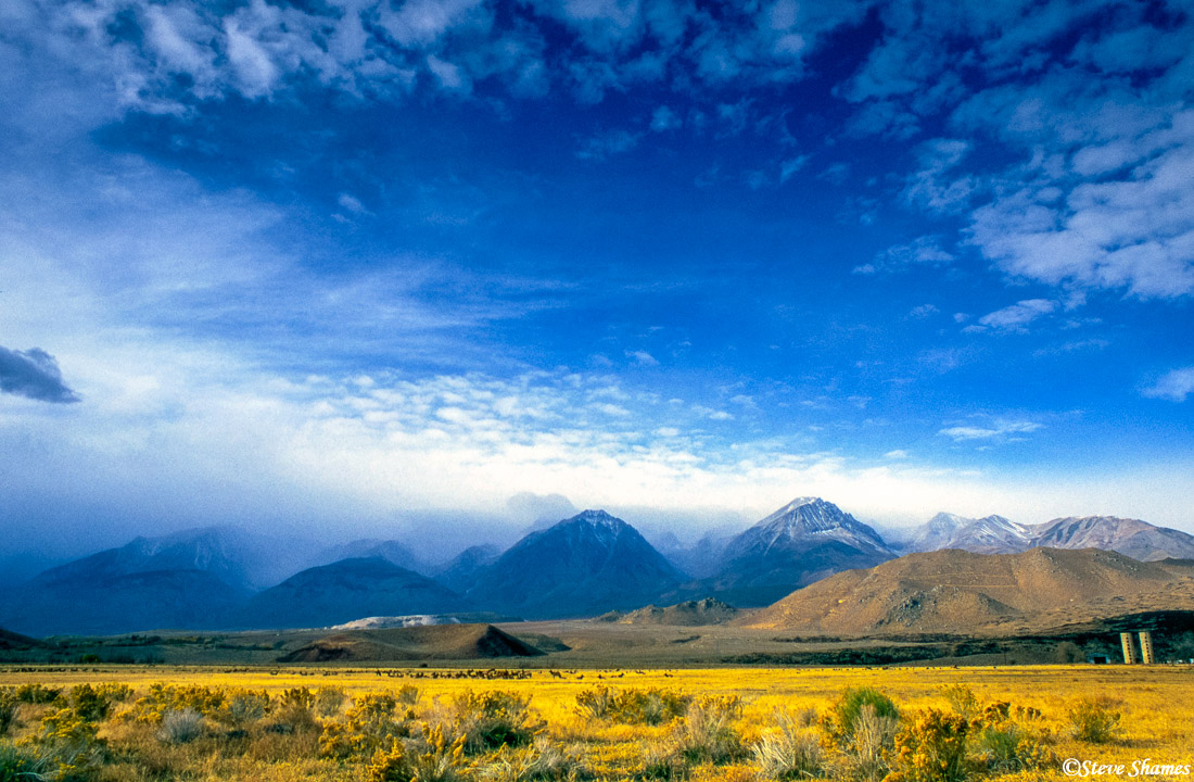 town of bishop, california, clouded sky, mountain scene, photo
