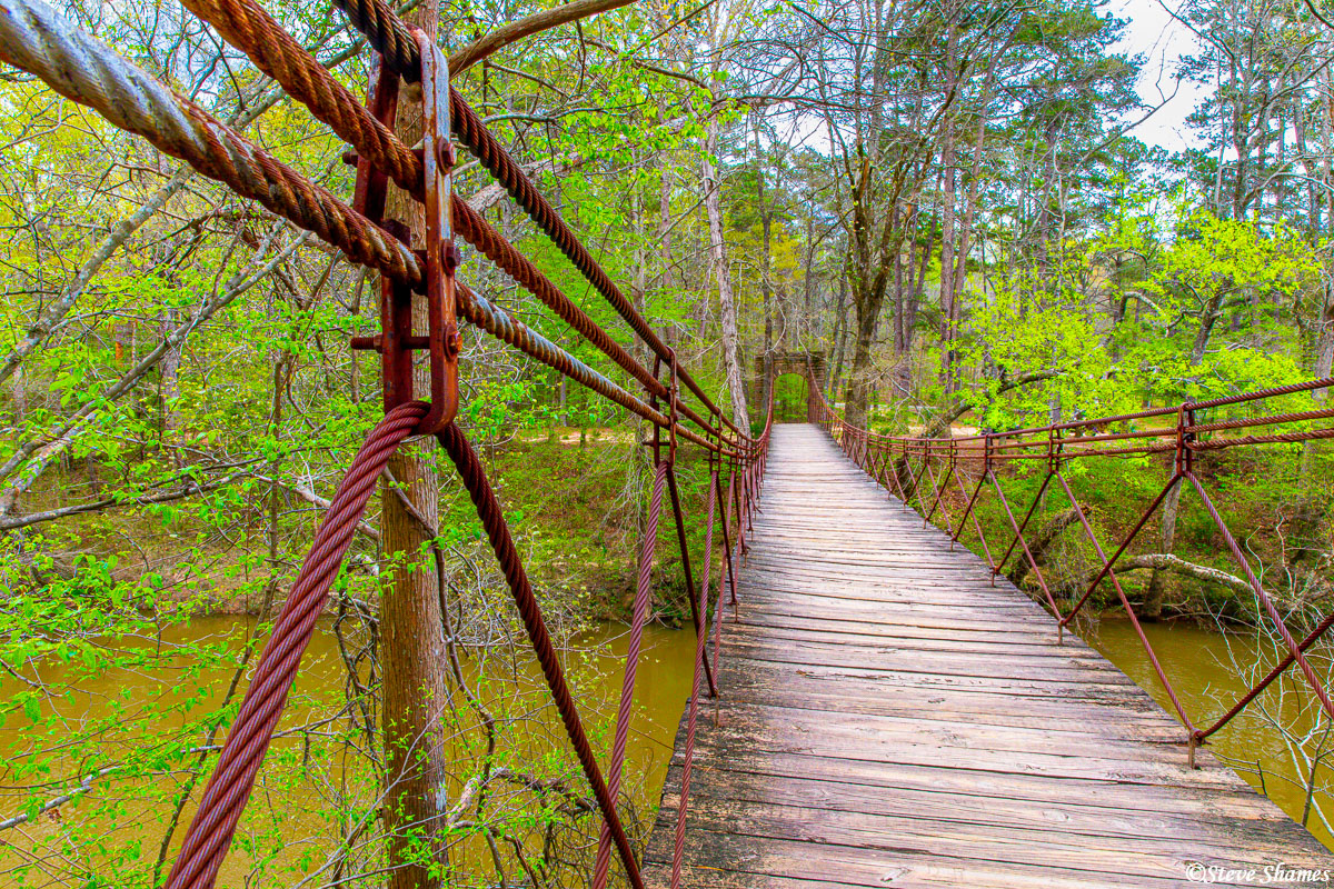 I like the rustic rusty cables on the Swinging Bridge.