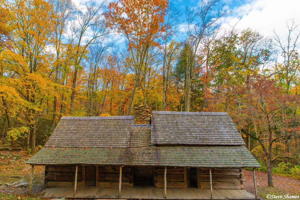 "This old structure was within the park by Gatlinburg Tennessee. It is known as ""Noah Ogle Cabin"". The fall colors really add..."