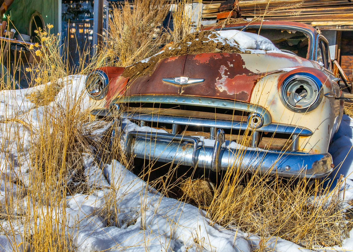 Up close with an old junked Chevy in Austin Nevada.
