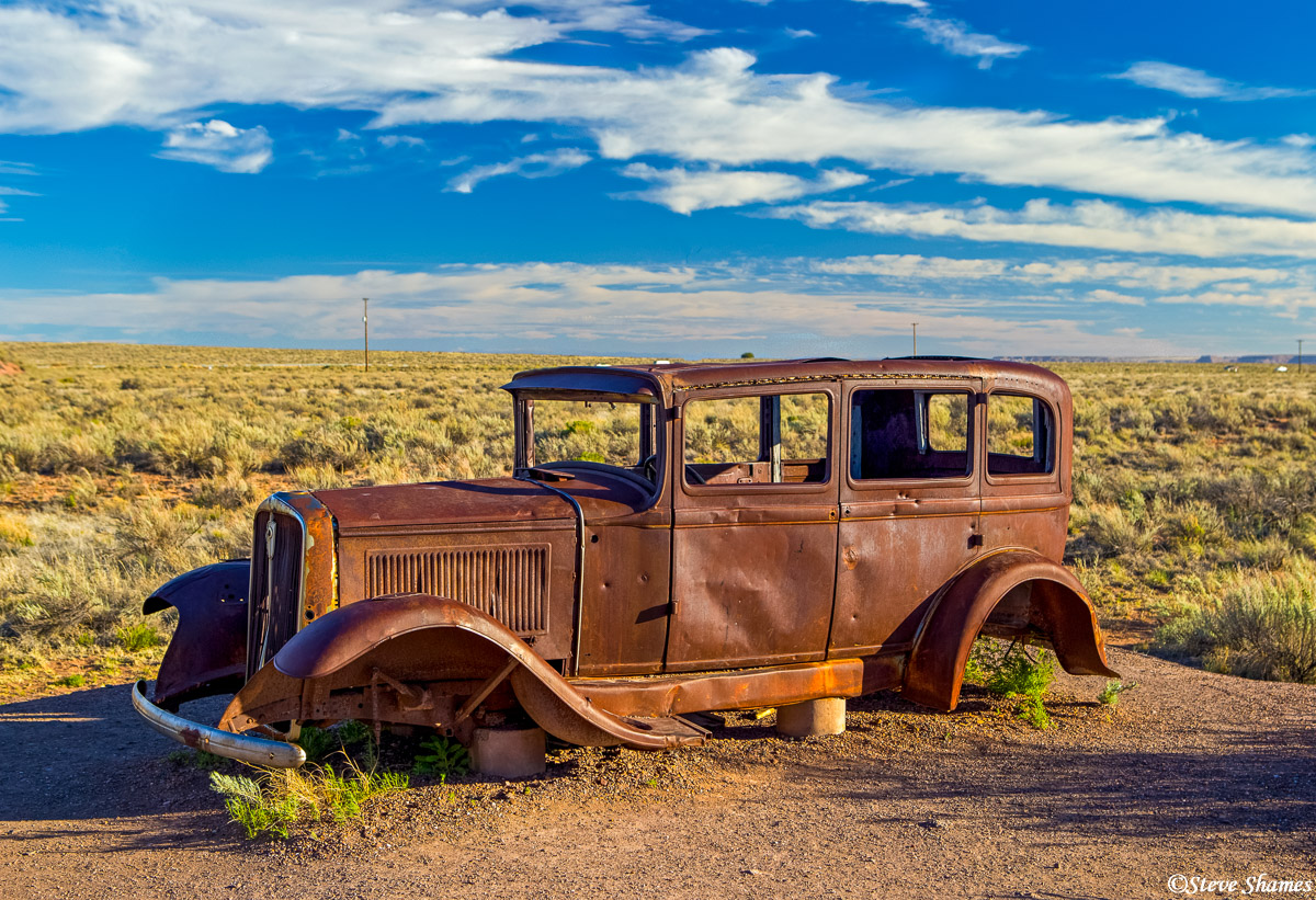 route 66, arizona, painted desert, rusting car, photo