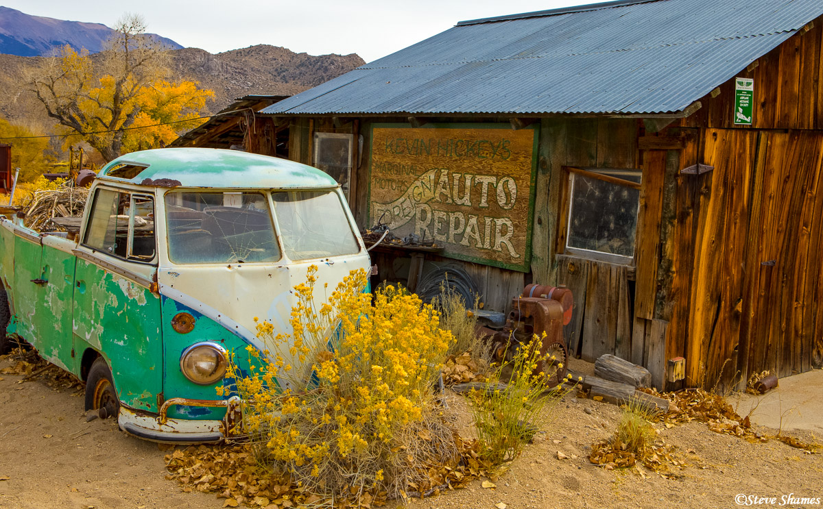 tiny town, benton, eastern california, volkswagen bus, photo