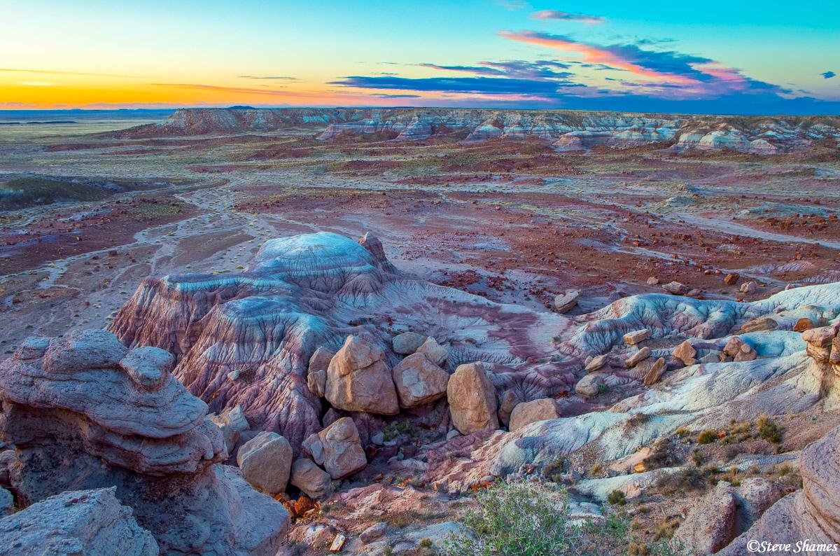 painted desert, national park, arizona, colorful sunset, photo