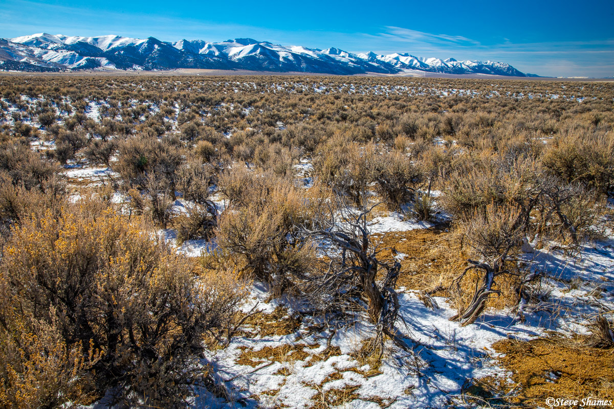The wide open snowy Reese River Valley in central Nevada.