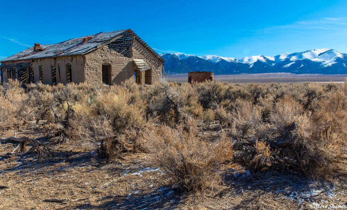 An old decaying building in the middle of nowhere, in the Reese River Valley.