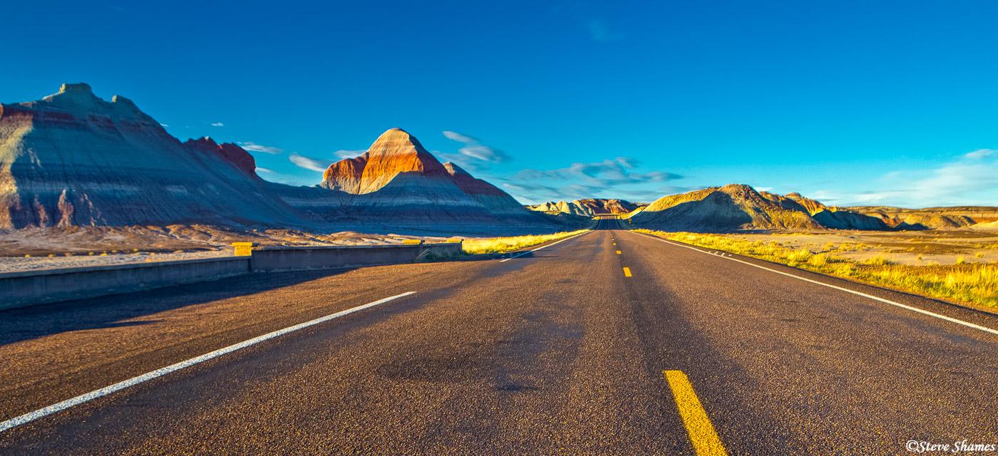 Scenic road through Painted Desert National Park.