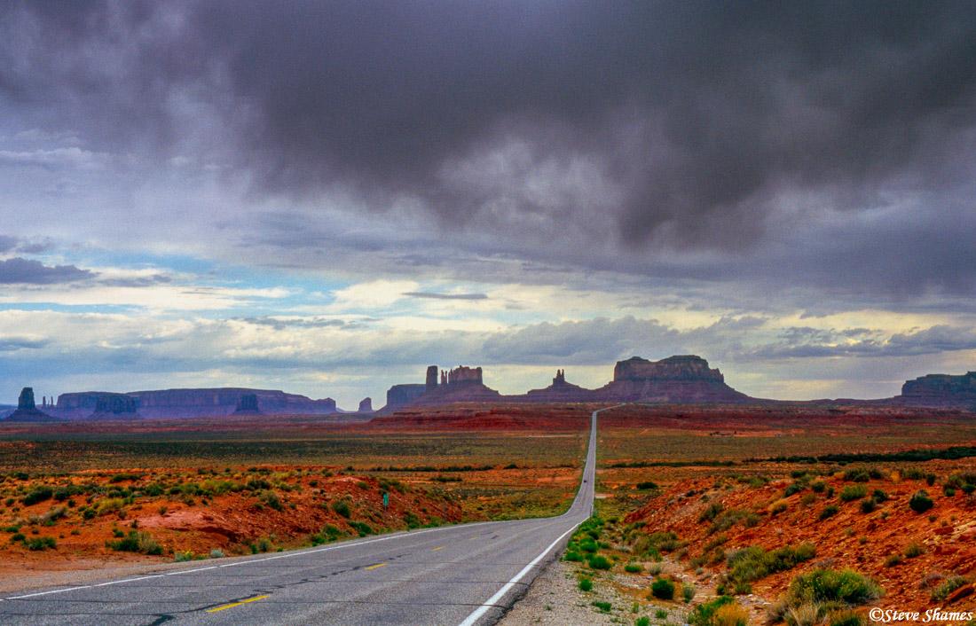 monument valley, arizona road, dramatic sky, scenic spot, photo