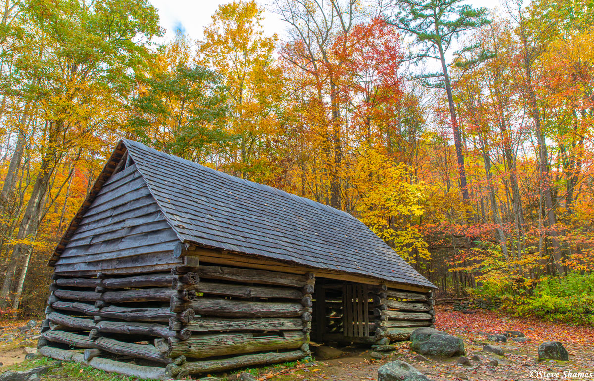 Roaring Fork Motor Trail running through he park had many sights, like this old building among the fall colors.
