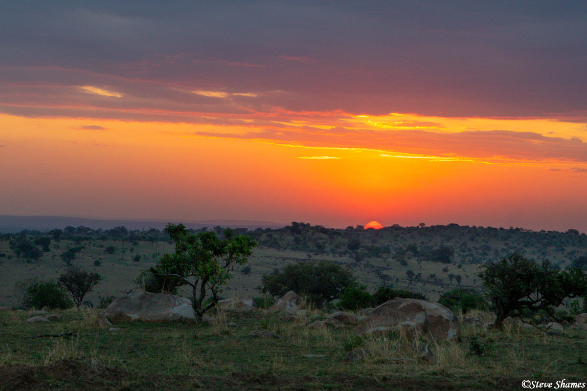 A beautiful sunset just outside our camp -- Lemala Kuria Hills.