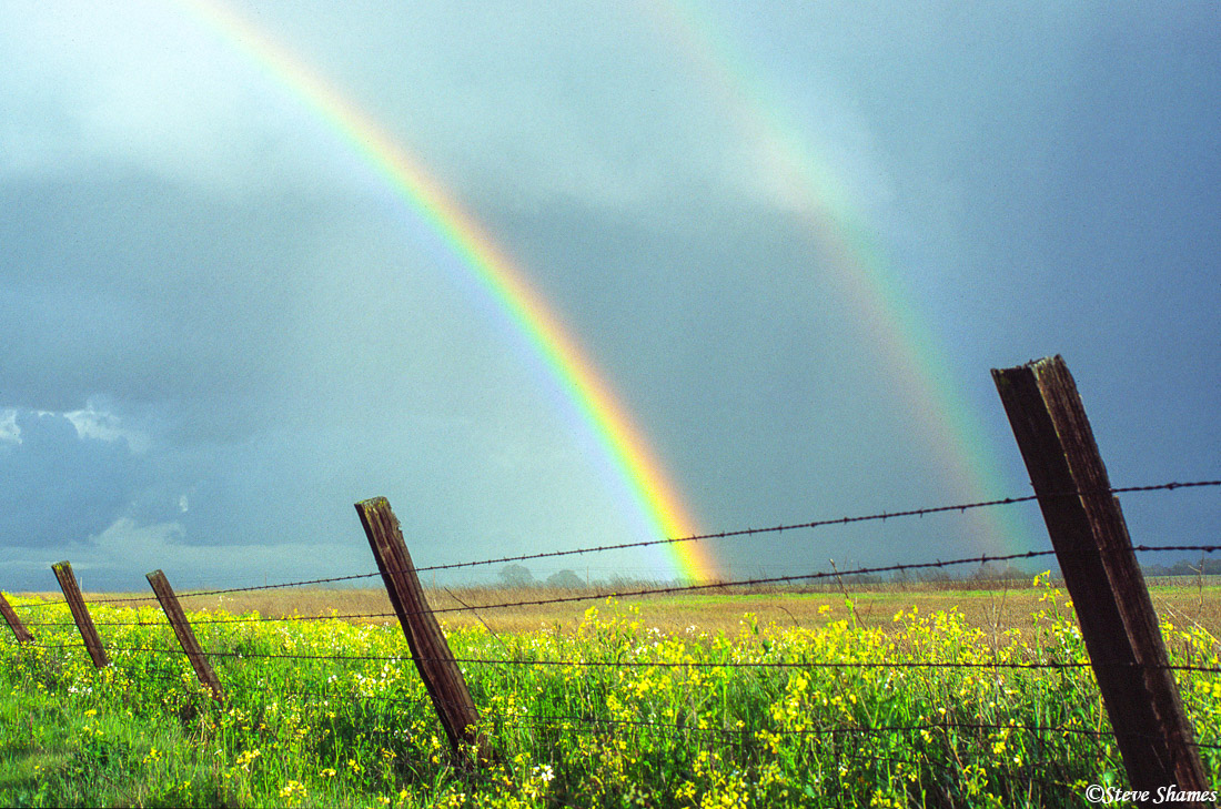 colorful rainbow, sacramento valley, california, photo