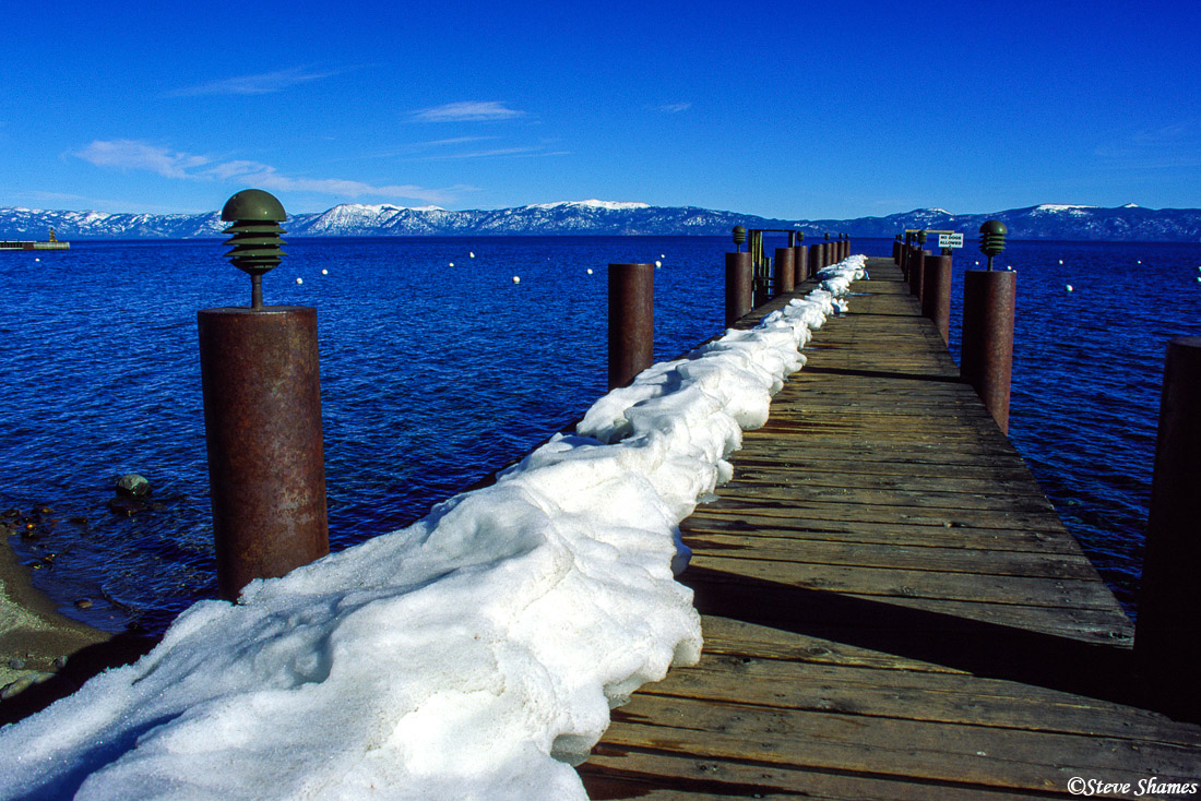 lake tahoe, snowy pier, photo