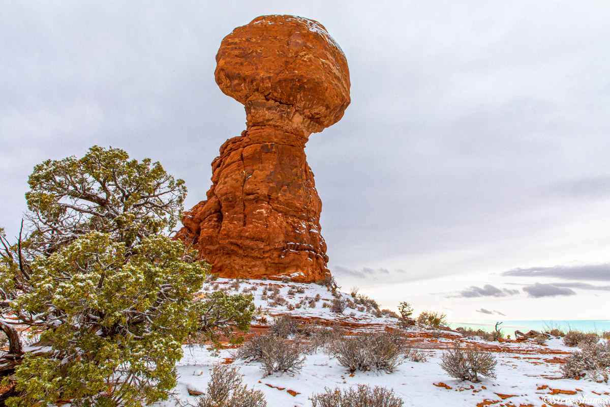 Balanced Rock with a snowy look. Snow makes everything look better.