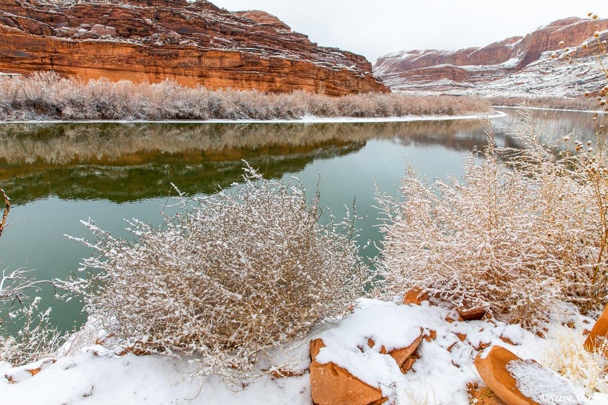 Colorado river in snow