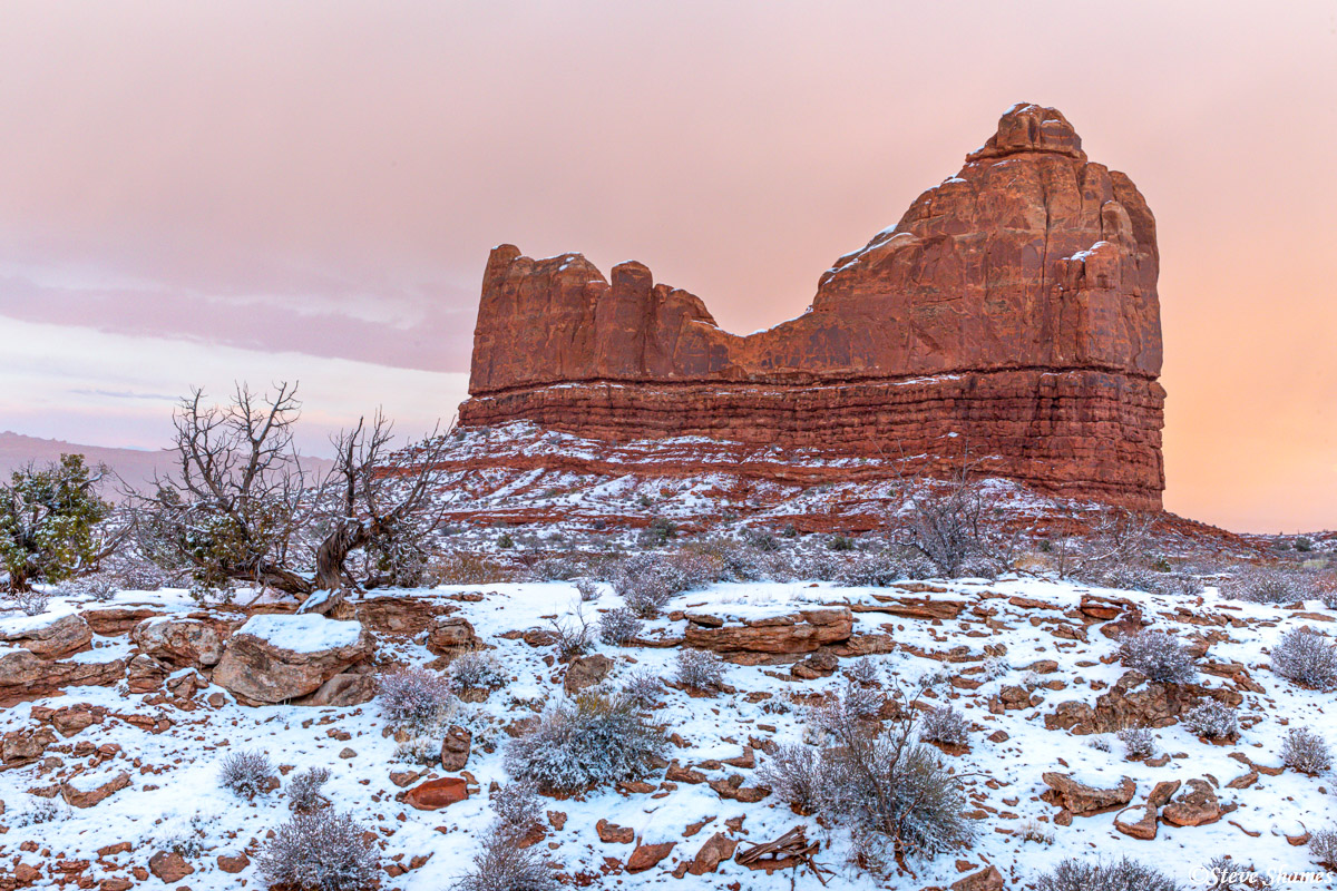 The end of the day light on a great snowy day at Arches!