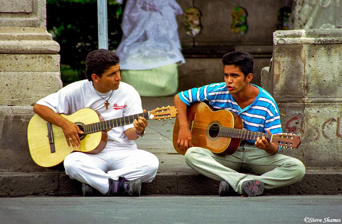 morelia, mexico, guitar guys, town square, photo