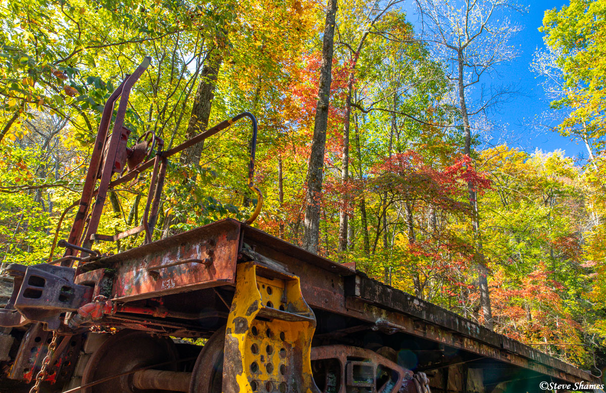 I found this interesting scene at the Stumphouse Tunnel state park in South Carolina. We have a train load of fall colors here...