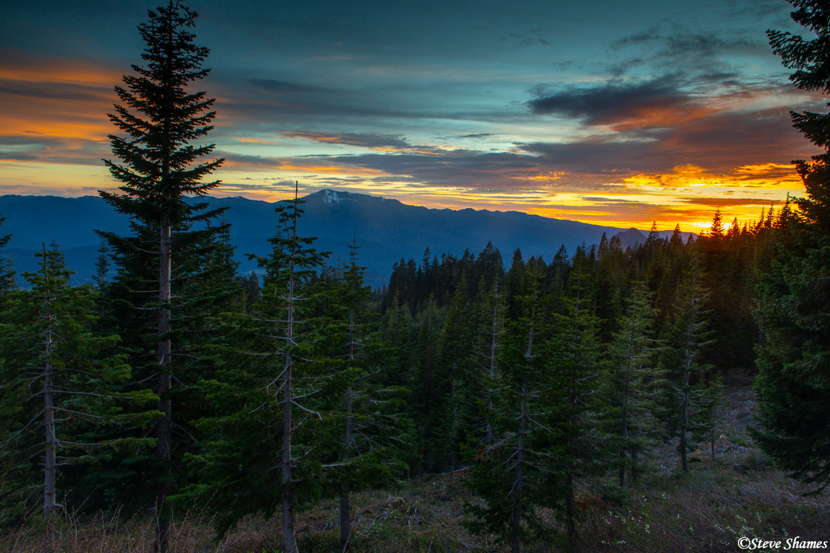 Sunset looking to the west from the slopes of Mt. Shasta.