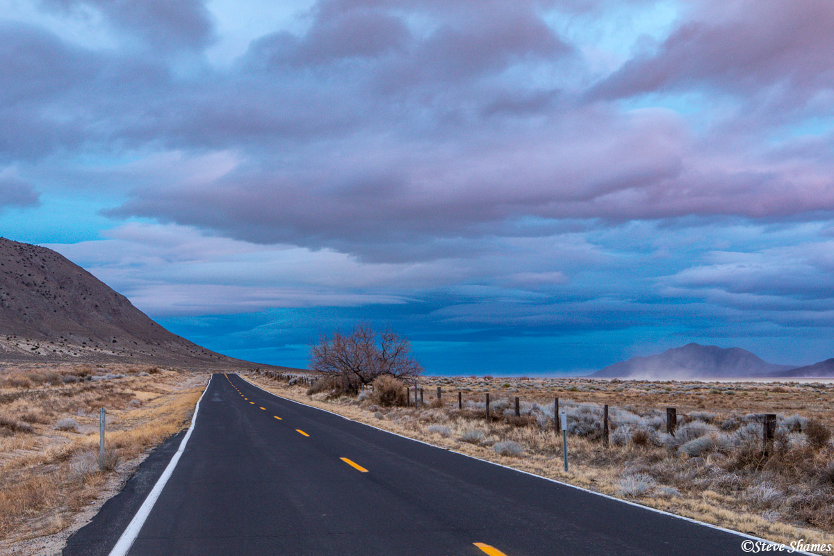 black rock desert sunset, nevada, lonely road, photo