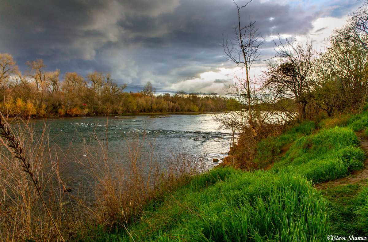 A stormy day in my opinion, is the best time to go out and find photo ops. This was along the American River.