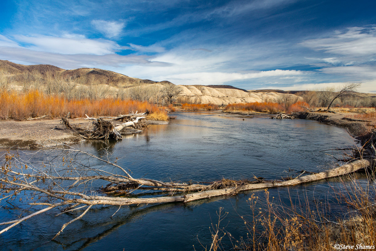 The Truckee River, winding its way down to Reno and across the Sierras.