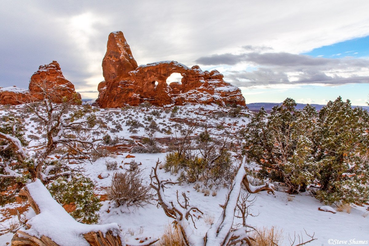 The snow really laid down a layer of beauty at Arches National Park. This is turret arch.