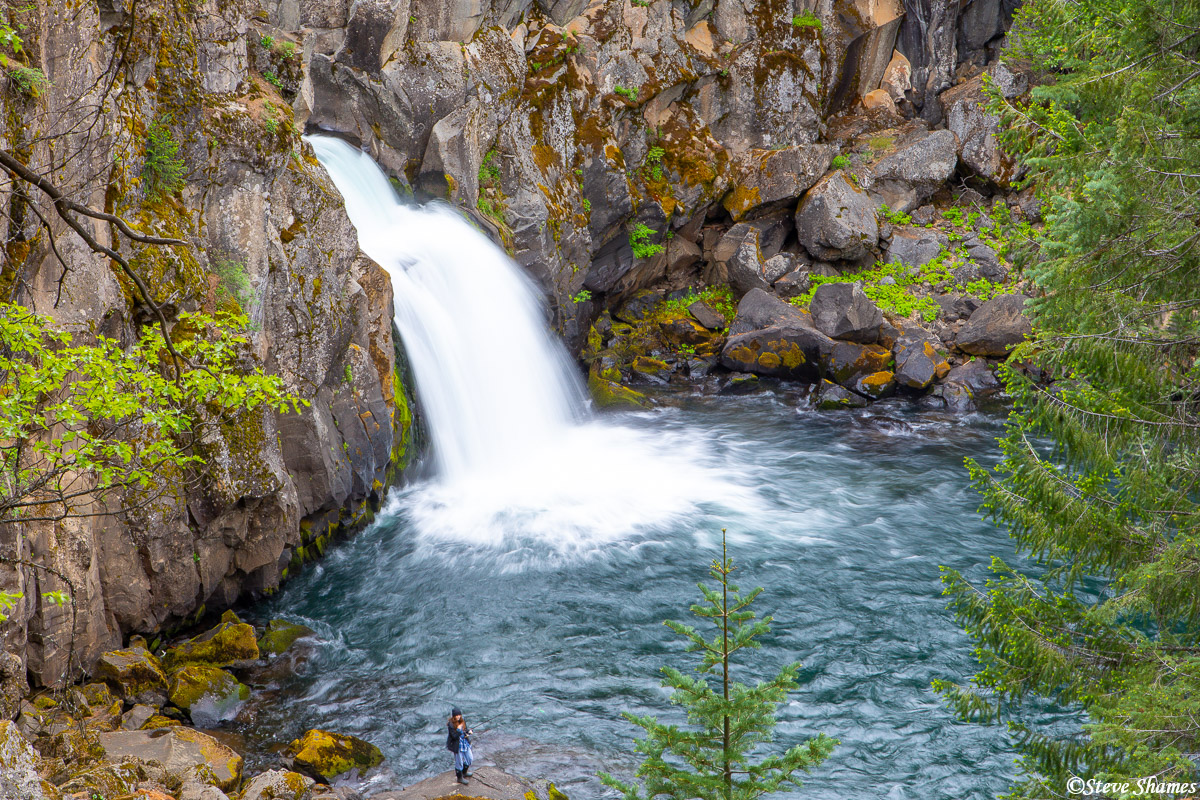 Upper McCloud falls -- I think that person fishing adds to the scene.