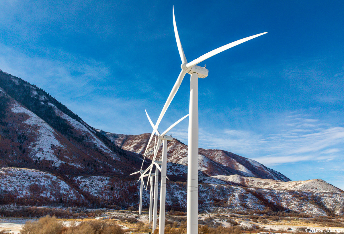 I liked the contrast between the bright white windmills and the deep blue sky. This was at Spanish Fork Canyon on Highway 6.