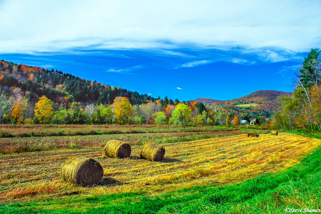 I especially like this rural farm scene with the round bales of hay, in central Vermont.