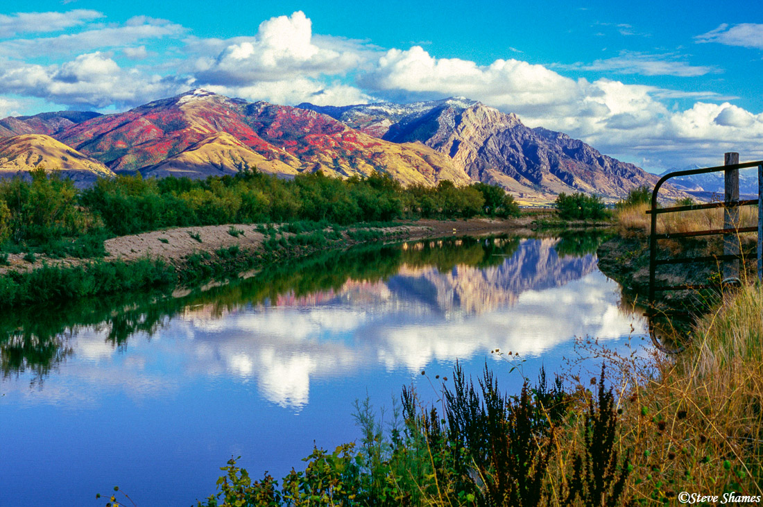 wasatch mountains, reflection, brigham city, utah, photo