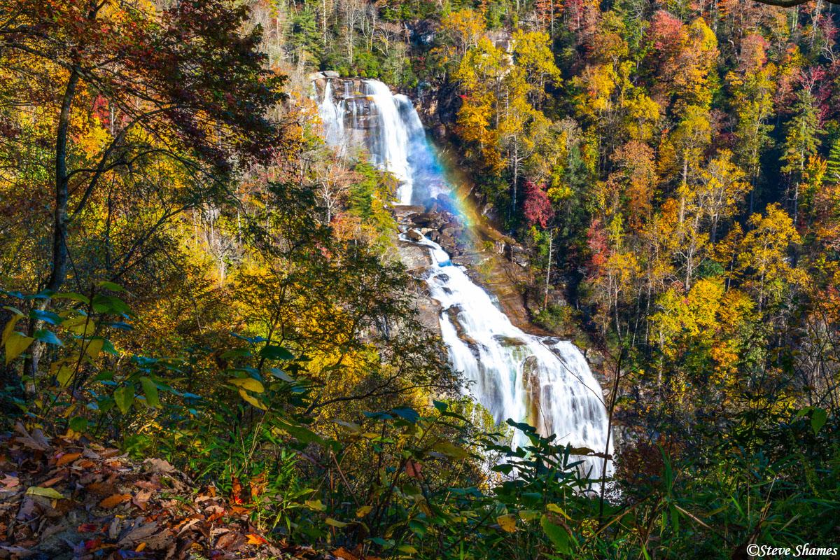 north carolina, white water falls, rainbow, photo